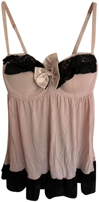 Item - Pink and Black Baby Doll Lingerie Tank Top/Cami Size 8 (M)