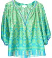 Collective Concepts Blue & Green Print Blouse Size 2 (XS) Collective Concepts Blue & Green Print Blouse Size 2 (XS) Image 1