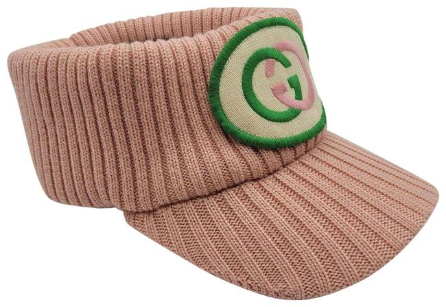 Item - Pink Knitted Wool Embroidered Patch Head Band Visor S 577825 5900 Hair Accessory