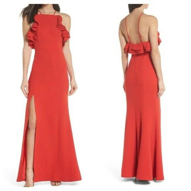 Item - Red Outline Ruffle Trim Gown Long Formal Dress Size 8 (M)