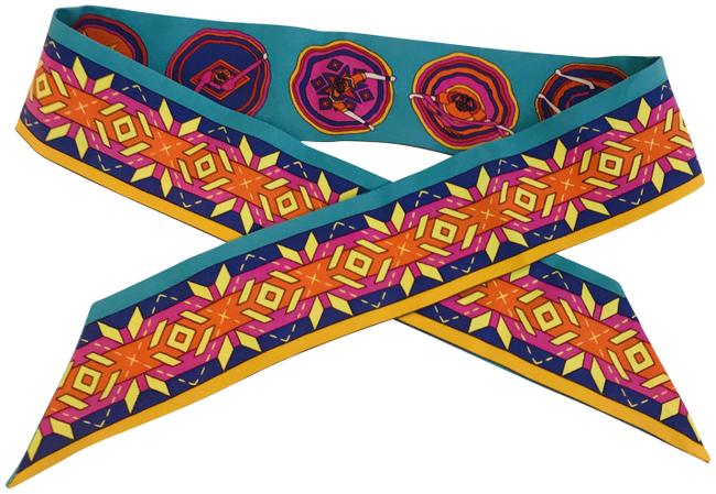 Item - Multicolor Silk Perspective Cavaliere Twilly Scarf/Wrap