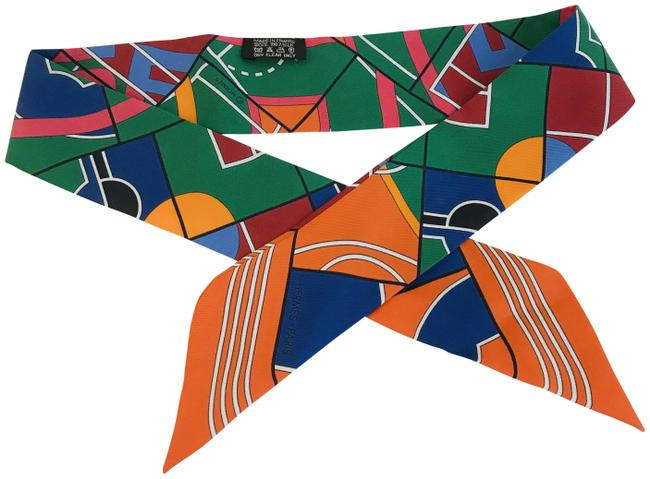 Item - Orange Green Red Silk Perspective Cavaliere Twilly Scarf/Wrap