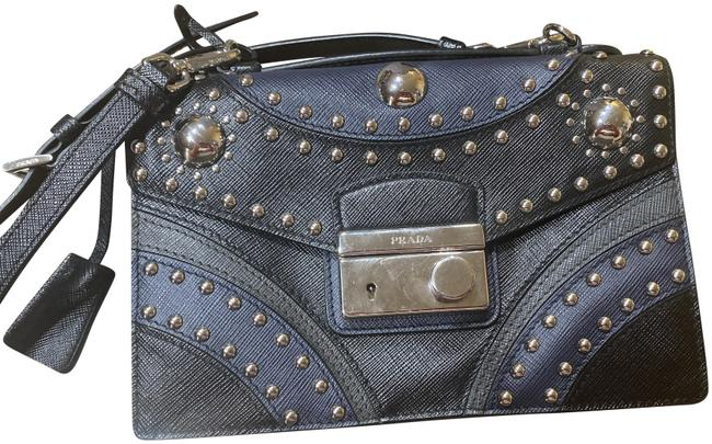 Item - Saffiano Blue and Black Leather Cross Body Bag