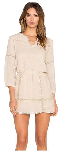 Item - Tan Oatmeal Natural Lace Detail Short Casual Dress Size 4 (S)