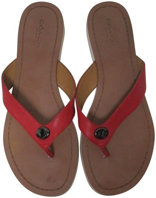 Item - Red Shelly Leather Turn-lock Or M Sandals Size US 7 Regular (M, B)