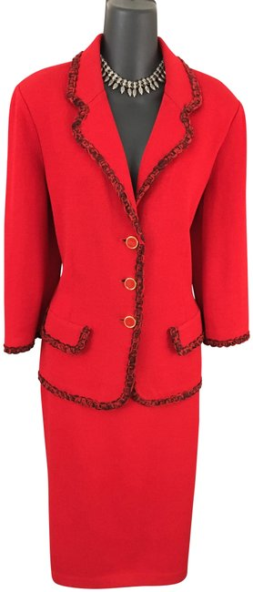 Item - Red Collection Knit Jacket Skirt Suit Size 10 (M)
