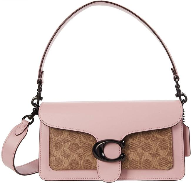 Item - Coated Canvas Signature Tabby 26 Tan/Powder Pink Leather Shoulder Bag