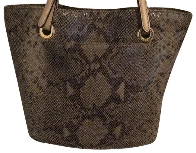 Item - Embossed Snake Skin Grey To Taupe Leather Tote