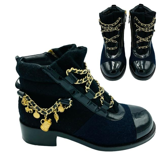 Item - Black Blue Runway Embellished Ankle Chains Charms Cc Logo Boots/Booties Size EU 38 (Approx. US 8) Regular (M, B)
