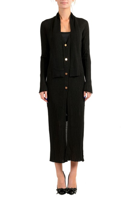 Item - Off Black Women's Knitted Wool Button Down Cardigan Mid-length Short Casual Dress Size 4 (S)