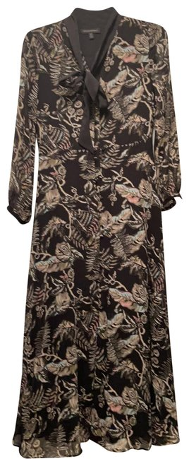 Item - Black with Pink and Green Floral Mid-length Work/Office Dress Size 2 (XS)