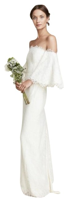 Item - White Bell Bridal Gown Lace Msrp Long Formal Dress Size 10 (M)