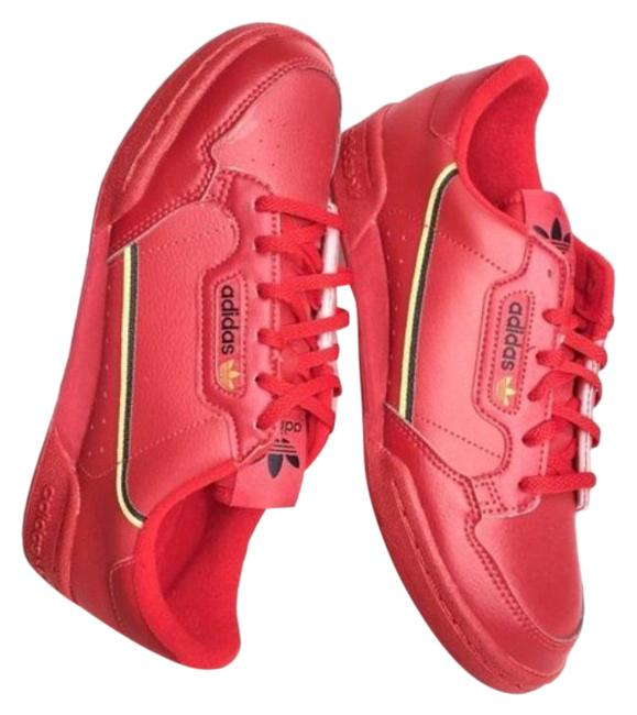 Item - Red Retro Leather Lace Up Sneakers Size US 7 Regular (M, B)