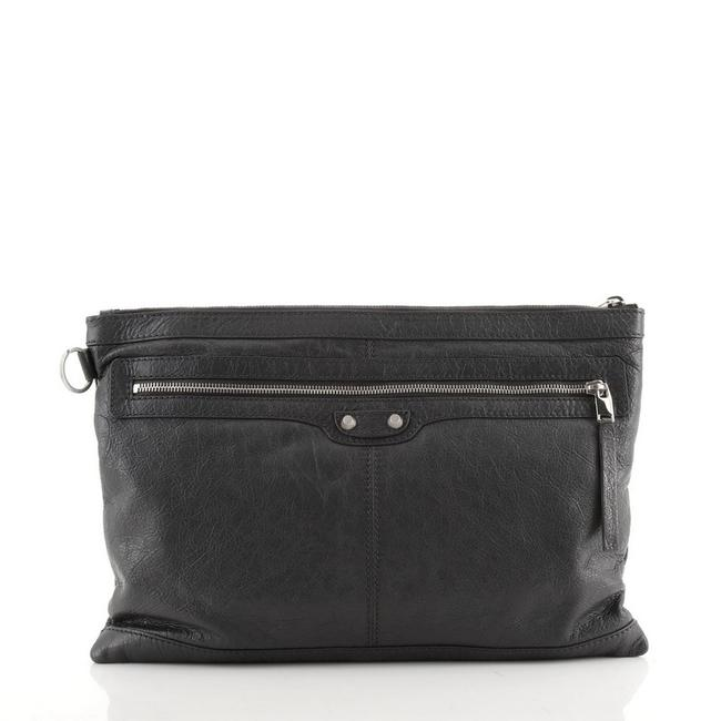 Item - Classic City Clip Pouch Large Gray Leather Clutch