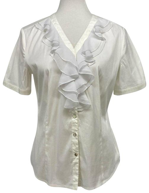 Item - White Ruffle Blouse Short Sleeve V-neck Us Button-down Top Size 8 (M)