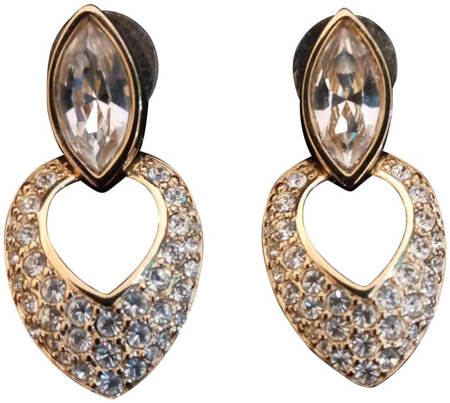 Item - Gold and Crystal Pierced Marquis Goldtone Drop Earrings