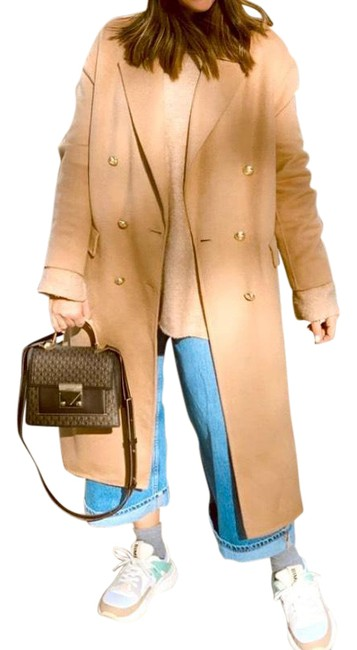 Item - Camel Tan Wool Blend with Gold Buttons Coat Size 8 (M)