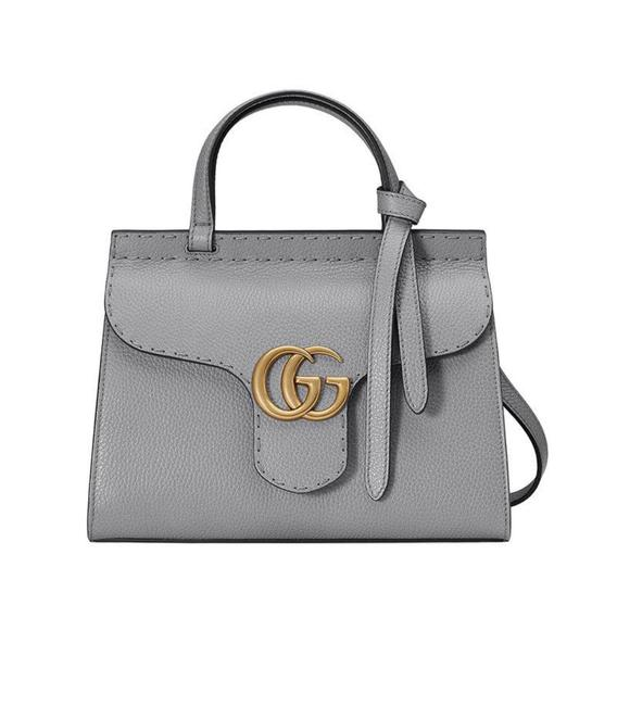 Item - Marmont Top Handle Gray Leather Cross Body Bag