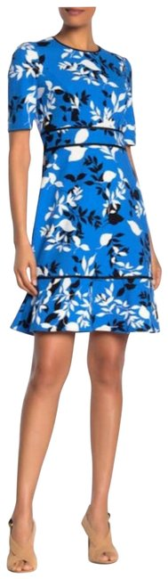Item - Blue Black White Floral Elbow Sleeve Ruffled Crepe Short Work/Office Dress Size 2 (XS)