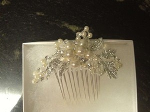 David's Bridal Ivory and Silver Rhinestone Comb Hair Accessory