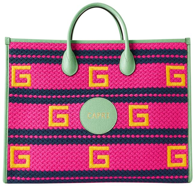 Item - Capri Leather-trimmed Pink Embroidered Macramé Tote