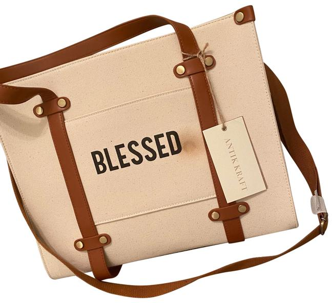 Item - Brown/Cream Canvas and Leather Tote