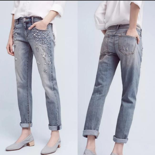 Item - Pilcro and The Letterpress Medium Wash Anthropologie Hyphen Bejeweled Denim Relaxed Fit Jeans Size 30 (6, M)