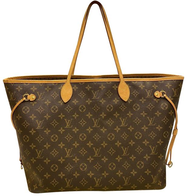 Item - Neverfull Gm Monogram Beige Purse (Sd3195) Gold Brown Canvas Tote