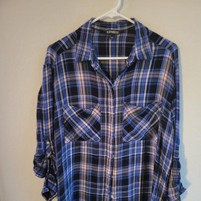 Item - Blue Black Pink and White Button-down Top Size 12 (L)