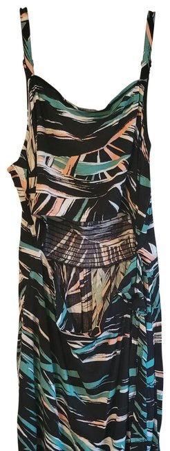 Item - Black Pink and Teal Long Casual Maxi Dress Size 12 (L)