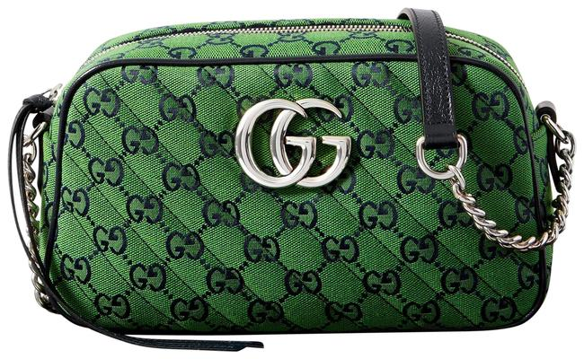 Item - Marmont Gg Multicolor Small Green Quilted Jacquard Shoulder Bag
