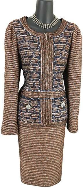 Item - Brown Blue Pink Multi Couture Knit Shimmer Rhinestones Skirt Suit Size 8 (M)