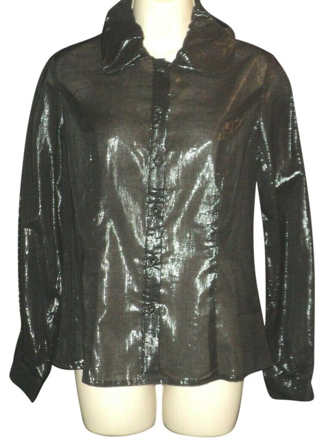 Item - Black Shiny Semi-sheer Front Buttoned Long Sleeves Blouse Size 6 (S)
