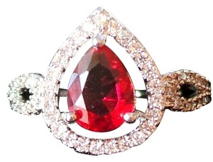 Other Pink Raspberry Rhodolite Garnet, White Topaz Silver Ring US SZ 8
