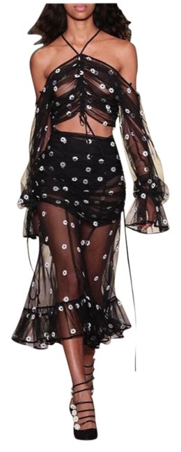 Item - Black You're The One Floral Embroidered Top Skirt Set Small Night Out Dress Size 6 (S)