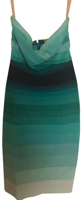 Item - Blue Ombre Medium Strapless Bandage Mid-length Night Out Dress Size 8 (M)