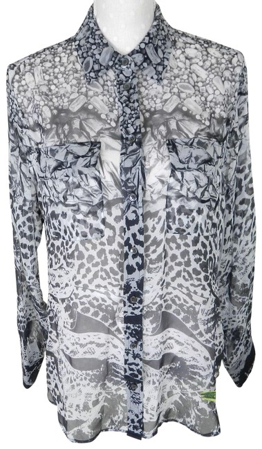 Item - Gray Femme S Sheer Silk Printed Blouse Size 6 (S)