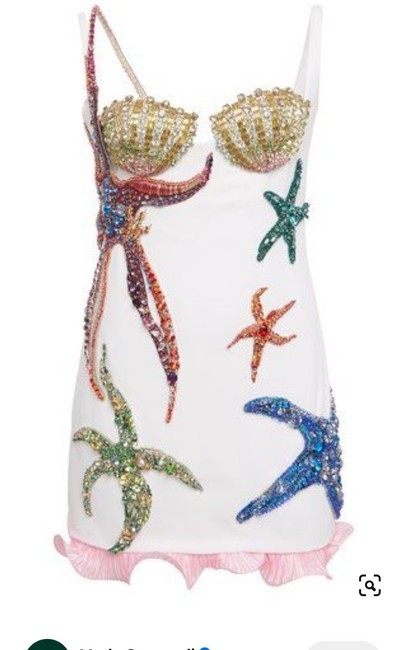Item - White with Sequin Embellishments Starfish Mini Short Night Out Dress Size 2 (XS)