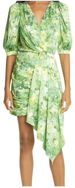 Item - Green/Yellow Floral Monica Short Cocktail Dress Size 4 (S)