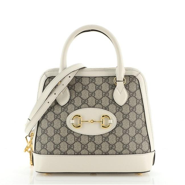 Item - Chain Top Handle Bag Horsebit 1955 Gg Small Brown White Canvas Coated Leather Satchel