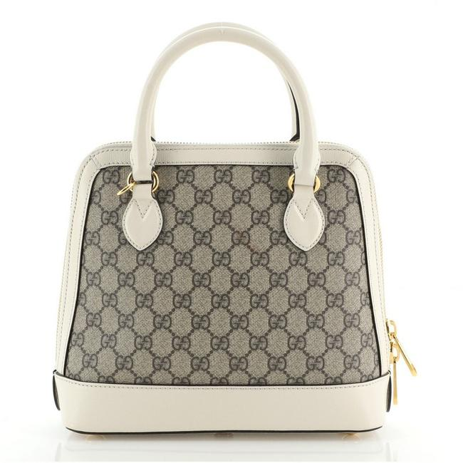 Gucci Chain Top Handle Bag Horsebit 1955 Gg Small Brown White Canvas Coated Leather Satchel Gucci Chain Top Handle Bag Horsebit 1955 Gg Small Brown White Canvas Coated Leather Satchel Image 3