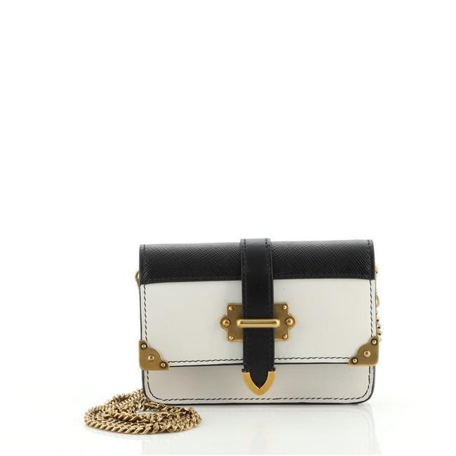 Item - Cahier Chain City Calf and Saffiano Micro Black White Leather Cross Body Bag