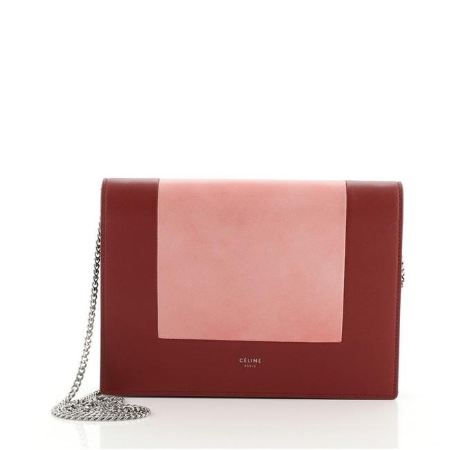 Item - Clutch Frame Evening On Chain Pink Red Leather Cross Body Bag