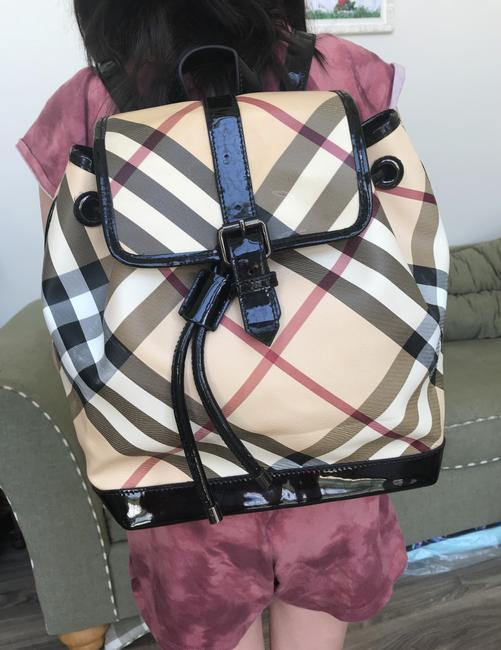Burberry Haymarket Multicolor Patent Leather Backpack Burberry Haymarket Multicolor Patent Leather Backpack Image 8