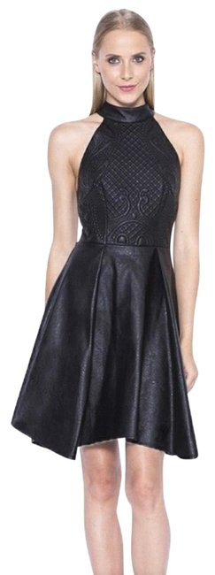 Item - Black Think Happy Thoughts Faux Leather Short Cocktail Dress Size 2 (XS)