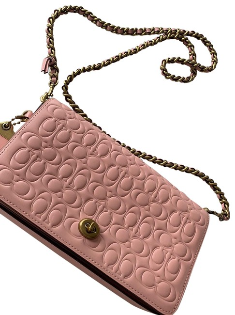 Item - Dinky In Signature with Floral Bow Print Interior Pink Leather Cross Body Bag