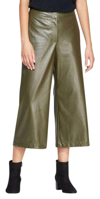 Item - Green Wide Leg Faux Leather Pants Size 4 (S, 27)