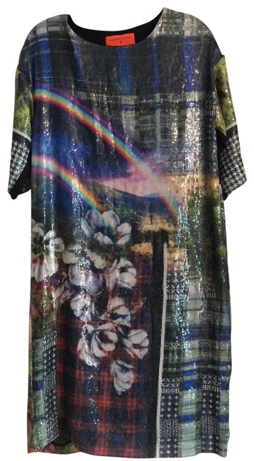 Item - Multicolor Sequined Rainbow Mid-length Short Casual Dress Size 10 (M)