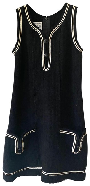 Item - Back Sleeveless Wool V Neck Mini In with White Trimming Mid-length Short Casual Dress Size OS