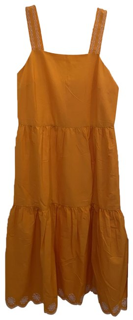 Item - Yellow Saffron Embroidered Scalloped Tiered Long Casual Maxi Dress Size 0 (XS)